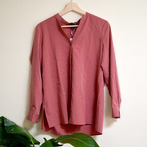 Eileen Fisher Rose Red Tencel Button Down Blouse